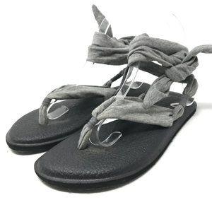 Sanuk Slinged Up Gladiator Yoga Sandals Gray 7